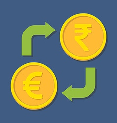 Currency exchange euro and rupee vector
