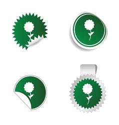 Sticker green color with white flower icon vector