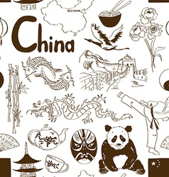 Sketch chinese seamless pattern vector
