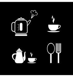 Lunch icons on black vector