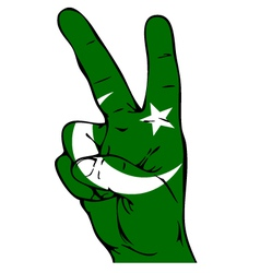 Peace sign of the pakistani flag vector