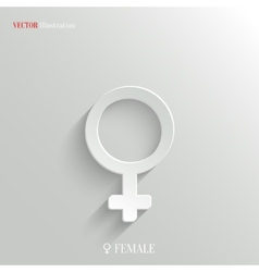 Female icon - white app button vector