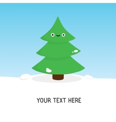 Cute christmas tree card vector