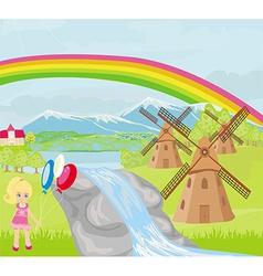 Spring landscape with windmills and a little girl vector