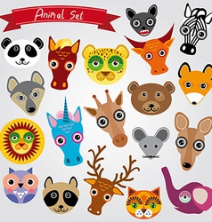 Set of funny animals muzzle vector