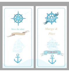 Wedding invitation template nautical style vector