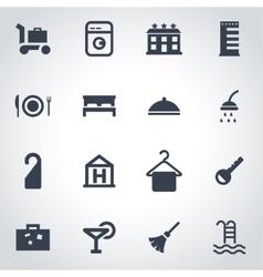 Black hotel icon set vector