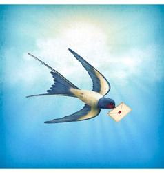 Sky bird letter mail vector