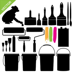 Paint bucket and brush silhouette vector