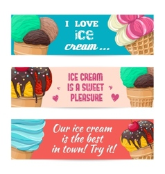 Set of banners with ice-cream vector