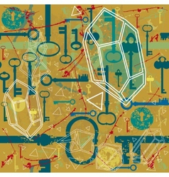 Vintage seamless pattern with keys and keyholes vector