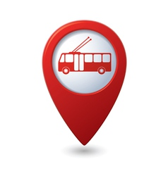 Map pointer with trolleybus icon vector