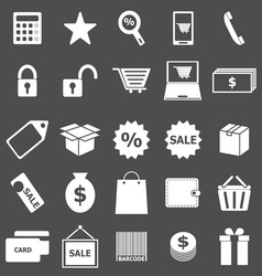 Shopping icons on gray background vector