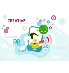Advertising concept with words pr creative vector