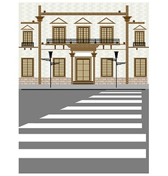 Street zebra crossing scene vector