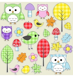 Nature stickers vector