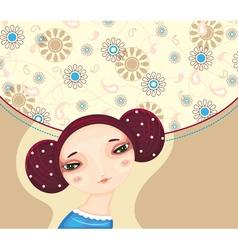 Girl face flower cover vector