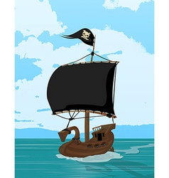 Black sails pirate ship vector