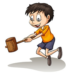 A young man holding a wood vector