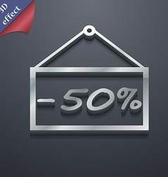 50 discount icon symbol 3d style trendy modern vector