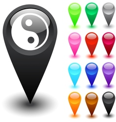Ying yang button vector