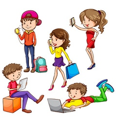 A group of people using hitech gadgets vector