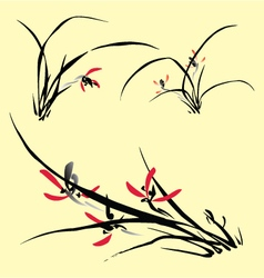 Flowers in oriental ink painting style vector