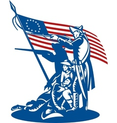 American patriots fighting with betsy ross flag vector