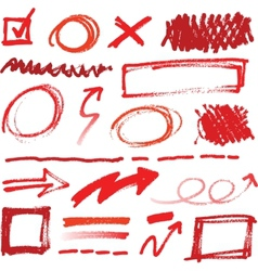 Collection of hand-drawn red pencil corrections vector