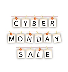 Cyber monday banner of blank photos with maple lea vector