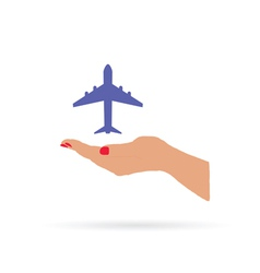 Airplane in hand color vector