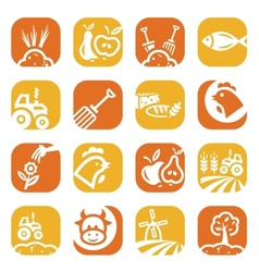 Color agriculture and farming icons vector