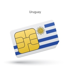Uruguay mobile phone sim card with flag vector