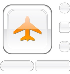 Aircraft white button vector