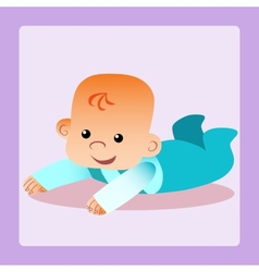 Happy baby is lying on his stomach trying to crawl vector