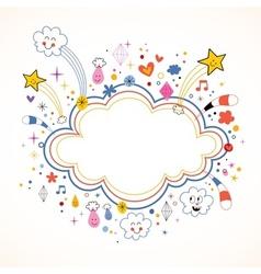 Star bursts cartoon cloud shape banner frame vector