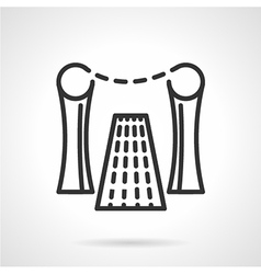 Rope barrier black line icon vector