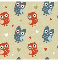 Valentine love seamless texture with cute owls vector