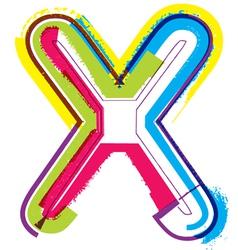 Colorful grunge font letter x vector