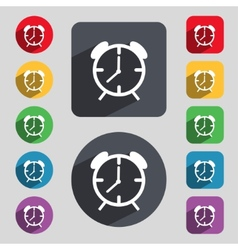 Alarm clock sign icon wake up alarm symbol set of vector