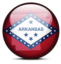 Map on flag button of usa arkansas state vector