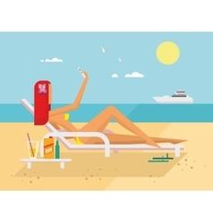 Sunbathing girl on the beach doing selfie vector