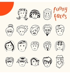 Hand drawn cartoon funny faces collection doodle vector