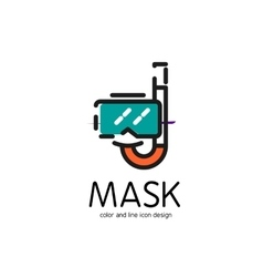 Color line icon for flat design mask and snorkel vector