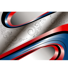 Red and blue curves and patterns on wavy frame vector