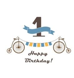 Celebration card for 1st birthday vector