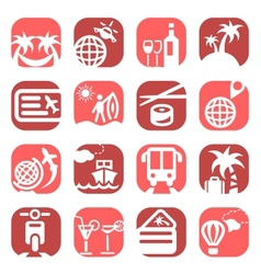 Color travel icons vector