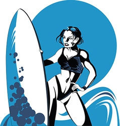 Girl surfing vector
