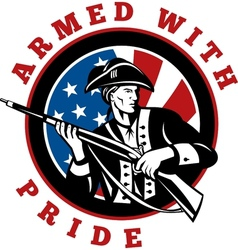 American revolutionary soldier with rifle flag vector
