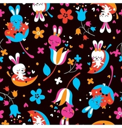 Love bunnies pattern vector